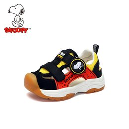Beach Shoes For Boys Australia - Snoopy Summer Boys Sandals Kids Toddle Beach Hook&Loop Shoes for Boy Casual Flat Shoes Fashion Closed Toe Child Sandal
