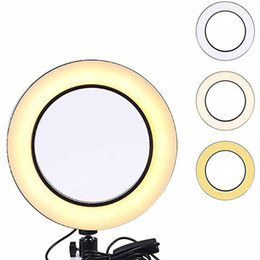 14.5 CM Luz de anillo LED regulable Lámpara de luz Selfie Cámara de fotos Anillo de relleno liviano Luz USB Cables de fotografía Lámpara de foto Selfie 3 colores