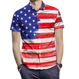 Shirt Stars Australia - Men Fashionable Summer Shirt Short Sleeves Casual Stars Striped Pattern Printed Tee Shirt Top