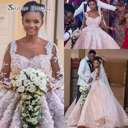 Gold applique weddinG Gown online shopping - Luxury Plus Size African Wedding Dresses Sheer Illusion Long Sleeves Crystal Beads Applique Ball Gown Bridal Gowns