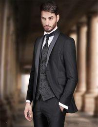 $enCountryForm.capitalKeyWord Australia - New Fashionable One Button Black Groom Tuxedos Shawl Lapel Groomsmen Best Man Mens Wedding Suits (Jacket+Pants+Vest+Tie) 681