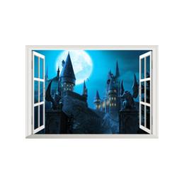 Wall Decor Stickers Scenery Australia - 3D False Window Wall Decor Magic Castle Wall Stickers Drawing Room Bedroom Home Decor DIY Scenery Poster Mural Wallpaper Wall Decals