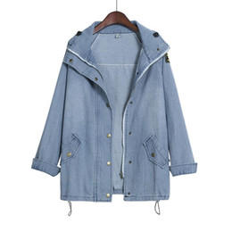 warm trench coat women Canada - Fashion Womens Warm Winter Coat Jacket Woman Bat Sleeve Cotton Hooded Jacket Denim Trench Parka Winter Outercoat
