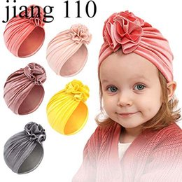 baby beanies NZ - Winter 2019 INS New Flower Baby Hat Newborn Elastic Velvet Indie Baby Beanie Cap Multi color Infant Turban Hats baby headband