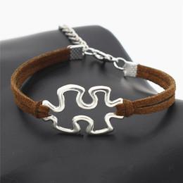 $enCountryForm.capitalKeyWord Australia - New Fashion Infinity Love Autism Awareness Jigsaw Puzzle Symbol Pendant Bracelets Womens Mens Romantic Dark Brown Leather Suede Rope Jewelry