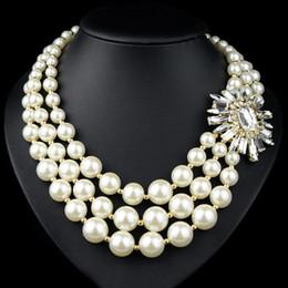 $enCountryForm.capitalKeyWord Australia - New Fashion Big Luxury Crystal Flower Necklaces &Pendants Pearl Tassel Chunky Choker Statement Necklace Women Jewelry