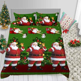 santa bedding sets Australia - Cartoon Santa Bedding Set Christmas King Creative 3D Duvet Cover Hot Sale Queen Green Twin Full Double Single Bed Cover with Pillowcase
