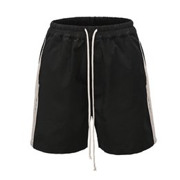 double sided shorts Australia - High Quality Mens Shorts Side Double Striped Black Pantalones Cortos Hombre Cross Pants Hip Hop Streetwear Mens Casual Shorts