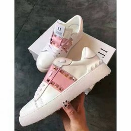 Pink Shoes Punk Australia - 2019 Top Quality Men Women V Brand Punk Rivets Flat Couple Shoes Genuine Leather White Pink Casual sports shoes Sneakers Size 35-46