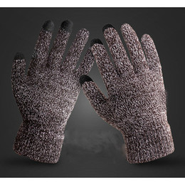 multi screen phone 2019 - hirigin Fashion Men Knitted Gloves Winter Warm Phone Touch Screen Thermal Full Finger Mittens For 5 Colors cheap multi s