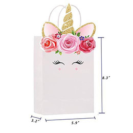 Stationery Australia - Unicorn Mermaid Tail Designer Totes Cartoon Gifts Bags Child Stationery Packaging Handbag Cute Kraft Paper Bag Brithday Gifts Bag A51701
