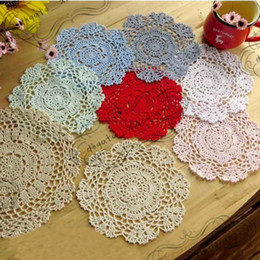 $enCountryForm.capitalKeyWord UK - DHL Handmade Crochet Lace Pattern Crocheted Cotton Doilies Cup Pad Mats Table Cloth Coasters Round Dial 14cm Custom Colors