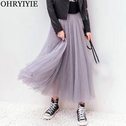 $enCountryForm.capitalKeyWord Australia - Ohryiyie 2019 Autumn Winter Vintage Skirts Womens Elastic High Waist Tulle Mesh Skirt Long Pleated Tutu Skirt Female Jupe Longue Y19060301