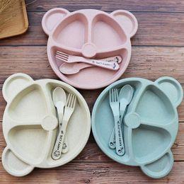 $enCountryForm.capitalKeyWord Australia - 3Pcs Baby Bamboo Tableware Bowl Spoon Fork Feeding Food Dinnerware Set Cute Cartoon Panda Children Dishes Newborn Plates