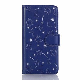 China Fashion Starry Leather Wallet Case For Iphone XS MAX XR X 10 (8 7 6 6S) Plus Star Moon ID Card Slot Magnetic Holder Flip Covers Hollow Out cheap orange magnetic flip case for iphone suppliers