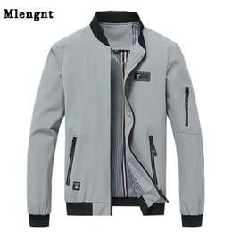 jacket college Australia - Spring 4XL College Streetwear Thin Homme Jacket Men Casual Solid Zipper Windbreakers Summer Fashion Bomber Overcoat 2018