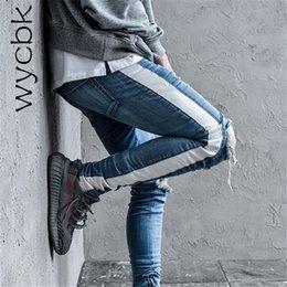 $enCountryForm.capitalKeyWord NZ - wholesale Side Stripe Patchwork Ripped Jeans Men Plus String 2018 New Fashion Destroyed Denim Pants 2