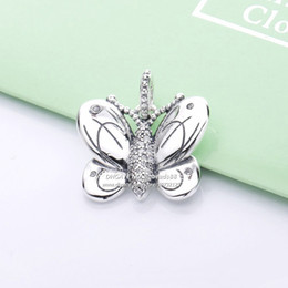 2cbde53e8 2019 Spring NEW 925 Sterling Silver Butterfly With Clear CZ Pendant Dangle charms  beads Fits Pandora Jewelry DIY Bracelets Necklaces