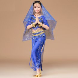 $enCountryForm.capitalKeyWord Australia - Children Belly Dance Costumes Suit Top+Pant+Belts+Veil+Bracelets Ethnic Style Girls Stage Performance Bollywood Indian Dancing Clothing S M