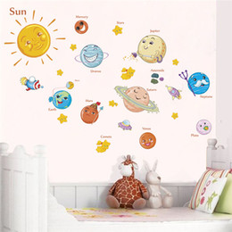 Stars Stickers For Walls NZ - Solar System Cartoon wall stickers for kids rooms Stars outer space planets Earth Sun Saturn Mars poster Mural school decor