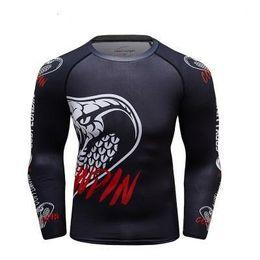 $enCountryForm.capitalKeyWord Australia - Men Compression T Shirts MMA Rashguard Keep Fit Fitness Long Sleeves Base Layer Skin Tight Weight Lifting Elastic BJJ T Shirts