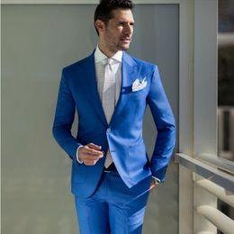 $enCountryForm.capitalKeyWord Australia - Royal Blue Groom Tuxedos Peak Lapel Men Wedding Tuxedo Popular Men Jacket Blazer Men Dinner Darty Suit Custom Made (Jacket+Pants+Tie) 1281