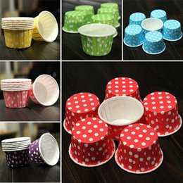 cupcakes mix Australia - 100pcs lot Mix Color Polka Dot Paper Cake Liner Small Size Cupcake Muffin Cups Cases Cupcake Wrappers Baking Dessert Holder Cups