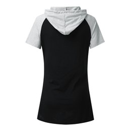 summer sleeveless hoodie NZ - summer Women's Short Sleeve Solid Splicing Nursing Hoodie Maternity Shirt Breastfeeding Top clothing For Feeding Plus Size#4