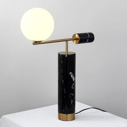 $enCountryForm.capitalKeyWord Australia - Fashion Europe Marble Bedside Lighting Desk Table Lamp For Bedroom Home Decoration Plated Metal +glass ball lampshade
