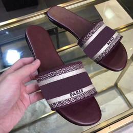 Navy Blue White Heeled Sandals Australia - Top quality luxury Designer Blue White stripes Sandals Denim Flat Slipprs Brand Shoes Ladies Summer outdoor beach causal Flip Flops 5dsg
