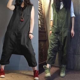 $enCountryForm.capitalKeyWord Australia - 2019 Zanzea Linen Overalls For Women Jumpsuits Plus Size Female Sleeveless Casual Drop Crotch Rompers Button Pant Woman Pantalon MX190726