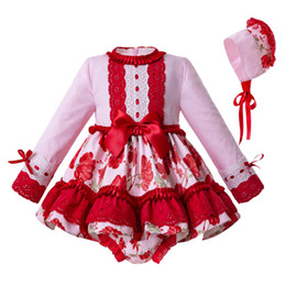 Chinese  Pettigirl 2019 Red Newborn Baby Girl Clothing Set Flower Printed 3PCS O-neck Wedding Girls Dresses G-DMCS111-C119 manufacturers