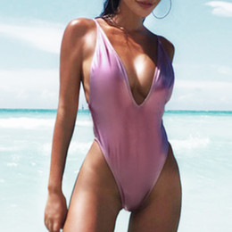 Wholesale womens swimwear monokini resale online - Gold Metallic One Piece Swimsuit Womens Push Up Monokini Deep V Neck Bathing Suit Sexy Swimwear Backless Solid Y19072501