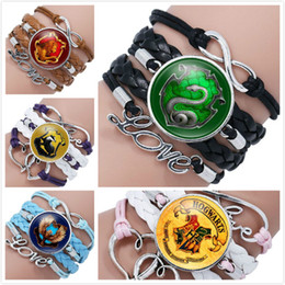 $enCountryForm.capitalKeyWord NZ - Hot Harry Infinity Love Leather Cuff Bracelet For Girls Rope Wrap Bracelets potter time gemstone Magic Academy badge Drop Ship