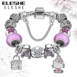 $enCountryForm.capitalKeyWord NZ - ELESHE Lovely Girls Jewelry Silver 925 Women Bracelet Pink&Blue Murano Glass Beads Crystal Kitty Charms Bracelet for Women