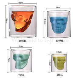 Wholesale Beer Mugs Glasses Australia - Skull Double Transparent Glass Beer Cup Beer Mug 25ML 75ML 150ML 250ML Milk Tea Cup Free Shipping DN033