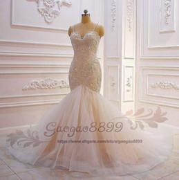 $enCountryForm.capitalKeyWord Australia - 2019 Mermaid Crystal Luxury Wedding Dresses spaghetti Lace Ruched Sparkle Rhinstone Bridal Gowns Dubai Vestidos De Novia long Custom Made