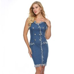 tassels design wear Australia - 2019 fashion design women clothes Summer New V-neck Strapless Sexy Dress Women Washed Denim Dresses woman clothing streetwear casual wear