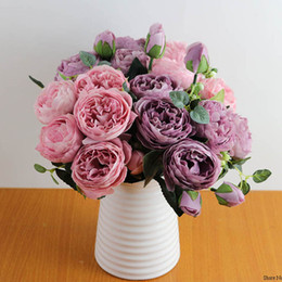 Big flowers peonies online shopping - 30cm Rose Pink Silk Peony Artificial Flowers Bouquet Big Head and Bud Cheap Fake Flowers for Home Wedding Decoration indoor
