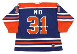 K1 Blue Australia - custom Mens EDDIE MIO Edmonton Oilers K1 1978 WHA Vintage Retro Hockey Jersey
