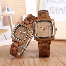 Unique Watches For Men Australia - Unique Walnut Wooden Watches For Lovers Couple Men Watch Women Woody Band Reloj Hombre 2019 Clock Male Hours Top Souvenir Gifts Y19052103