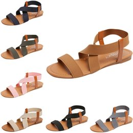 Strap Stretch Australia - Rome Women Sandals Retro Casual Low Heel Shoes Stretch Fabric Beach Sandalias Summer Cross Strap Flat Shoes Woman Sandals #40 #10169