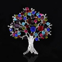 wholesale costume brooches NZ - Europe fashion colorful crystal Christmas tree brooch pins alloy tree of life corsage men costume statement jewelry Christmas gift
