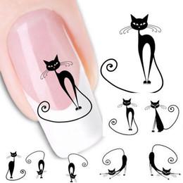 $enCountryForm.capitalKeyWord Australia - 1pc Cat shaped Nail Stickers 3D Water Transfer Sticker Nail Art Tips Sticker Water Decals To Decor DIY Decoration