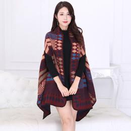 $enCountryForm.capitalKeyWord NZ - Autumn New Fashion Shawl Women Long Cardigan Sweaters Scarf Collar Sleeveless Faux Cashmere Cloak Coat Thick Plaid Sweaters Coat