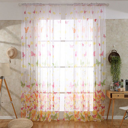 living curtains NZ - Sheer Curtains Pastoral Printing Butterfly Voile Roman Curtains Gauze For Window Curtains Living Room Screening Tulle Curtain Wholesale