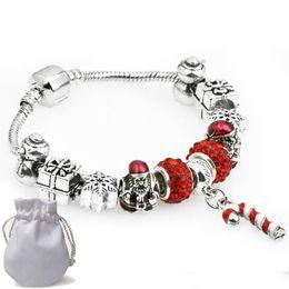 $enCountryForm.capitalKeyWord Australia - Cute Charms Bracelets Fit Pandora Woman Red Crystal Glass Beads Bangle Pendants Silver Santa Claus Snowflake Christmas Gift Jewelry