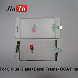 Lcd Screen Touch Fix Australia - Original Cold Press 3 in 1 Glass with Frame+OCA Film Parts For iPhone 8P 8G 7P 7G LCD Screen Refurbish Fix JiuTu