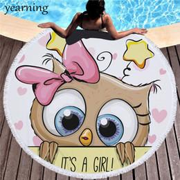 $enCountryForm.capitalKeyWord Australia - Cartoon Owl Round Tassels Beach Towel Cute Letter Big Eye Print Microfiber Fabric Use Beach Picnic Swimming Pool Yoga Shawl J190719