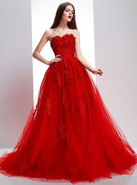 custom made elie saab dresses Australia - Elie Saab Red Evening Dresses Elegant A Line Applique Sweetheart Cheap Prom Gowns Custom Made Party Dress